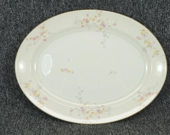 """Vintage Pope Gosser Porcelain 15 1/4"""" Serving Platter With Pink Rose Pattern"""