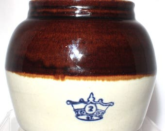 Robinson Ransbottom Two Quart Bean Crock, Stoneware Crown Pottery, Vintage Bean Pot, Ransbottom Brothers