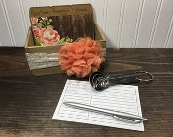 Recipe Box, Recipe Dividers, Floral, Shabby Chic, 4x6