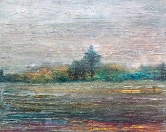 Home, Original Mixed Media Art, Acrylic Painting, Wood Fiber, Landscape, Canada
