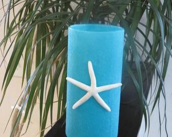 Aqua Sand  Vase/Candle Holder