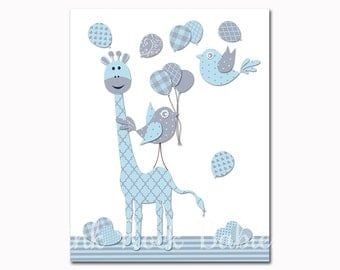 Baby Boy Nursery Art Blue Giraffe Nursery Decor Blue Grey Birds Kids Room Wall  Decor Nursery