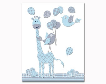 Baby boy nursery art blue giraffe nursery decor blue grey birds kids room wall decor nursery decoration baby room artwork baby shower gift