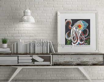 Octopus art print. Octopus poster. Octopus wall art. Ocean themed art. Nautical print for home. Gift for her. Gift for boys. Shanni Welsh