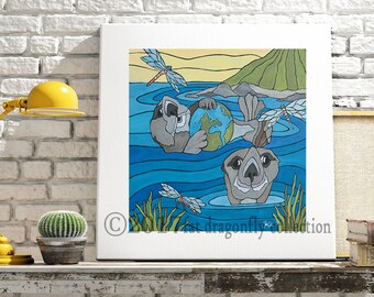 Otters and Dragonfly art print. Otter poster. Otter wall art. Dragonfly art print. Nautical print. Gift for her. Gift for boys. Shanni Welsh