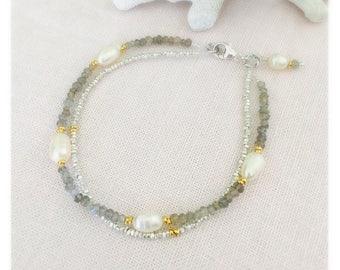 Fine Silver, Gold filled, Fresh Water Pearl and Labradorite Gemstone Bracelet