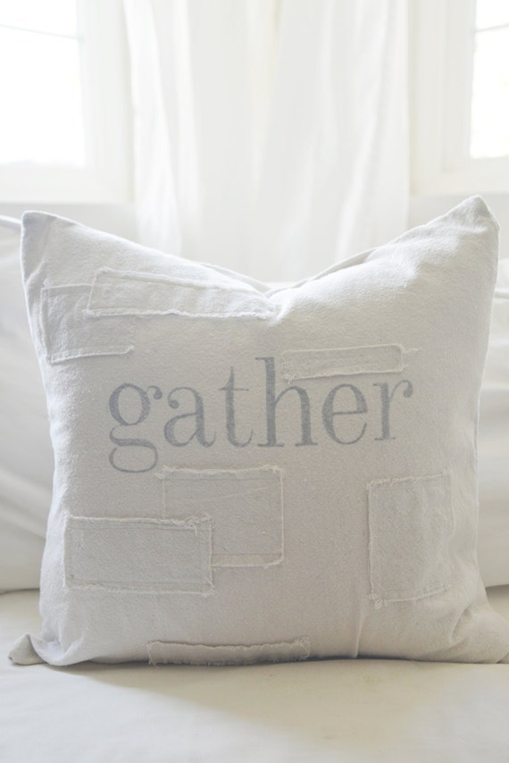gather grain sack style pillow cover. available in 16x16, 18x18, 20x20, 16x24 and 16x26. patches are optional.