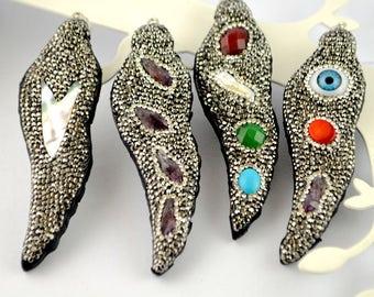 6pcs Mixed Style Pave Rhinestone Snakeskin Charms Pendants Fashion Jewelry