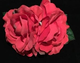 Coral Velvet Double Rose Pin Up Hair Flower Clip