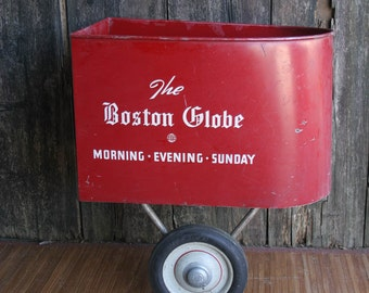 1950s Boston Globe Newspaper Bicycle Carrier, 1960s Paper Route Side Cart, Red Metal Newspaper Holder, Mid Century Movie Prop, Collectible