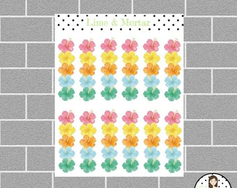 Tropical Flower Banner Planner Stickers