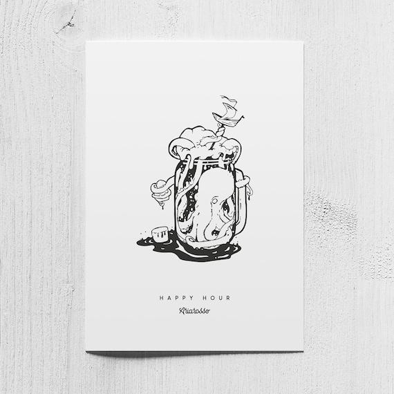 Poster Art Print - Happy Hour - Blackwork Series A5 Size - Octopus Bee...