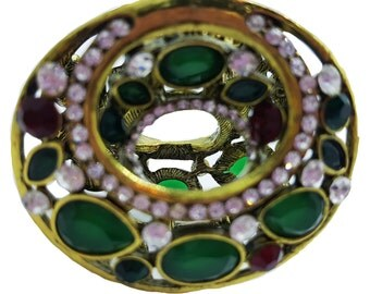 New Antique Gold With Emerald Green & Ruby With  Rhinestone  2'' Hair Slide