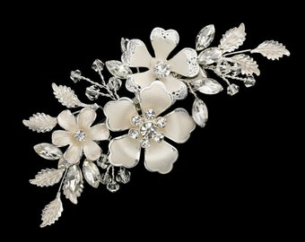 New Bridal Gorgeous Floral Blossom With Pearls & CZ Crystal Rhinestone Hair Comb