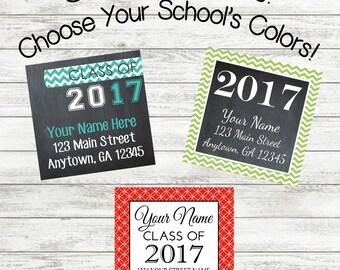 Graduation Stickers - Graduation Return Address Labels - Graduation Stickers - Set of 12 or 24 stickers