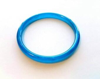 Vintage Artisan Made Hand Blown Blue Glass Bangle Bracelet