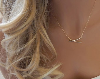 CZ Bar Necklace • Gold Bar • Gift for Her • Diamond Bar Necklace • Minimal • Gold or Silver CZ Double Bar Necklace • Girlfriend Gift
