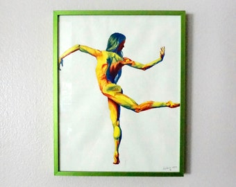 Original Acrylic Painting/ Colorful Dancing Woman/ Framed Acrylic on Paper/ Surreal Wall Art Decor