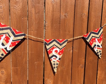 Stars & Stripes USA Burlap Banner/Bunting, Patriotic Banner, Fourth of July Banner/Bunting