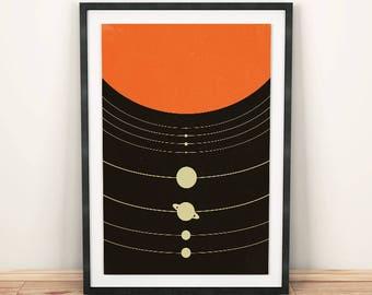 Modern minimalist, Solar system print, Solar system, Space print, Minimalist print, Orange art, Space art, Solar system poster, Minimalist