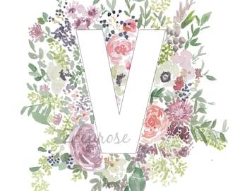 Letter Monogram Print - Alphabet Poster Print, Floral Wall Art, Floral Alphabet Decor, A4 Archival Art Print
