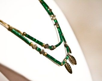 Vintage Malachite Tube Beaded Double-Strand Necklace with Silver Feathers and Silver Tube beads