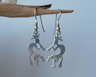Sterling Silver Kokopelli Earrings Dangle Navajo Silver Native Amarican Southwestern Vintage 925 Native Kokopelli Jewelry,Pierced Earrings