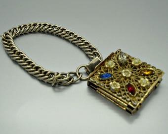 Vintage Bracelet Rhinestone Locket Photo Bracelet Rhinestone Locket