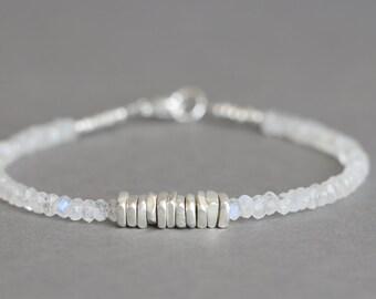 Moonstone Bracelet Silver Bead Bracelet Stacking Bracelet Gemstone Bracelet June Birthstone