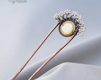 Wire wrapped jewelry, wire hair pin, bridal hair fork, white hair pin, hair decoration, gift for women, bridesmaid gift, flower hair fork