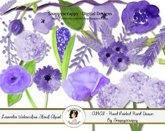 Flower Clipart / Purple Watercolour Hand Painted Flowers / CU4CU