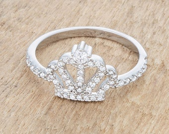Crown Ring   Silver   Clear stones accent a princess crown design in this feminine crown ring
