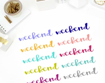 Solid Cursive Weekend Stickers! Perfect for your Erin Condren Life Planner, calendar, Paper Plum, Filofax!