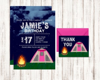 Camping Birthday Invitation - Girls Birthday invitation - Family Reunion Camp Out Celebration - Printable PDF Template