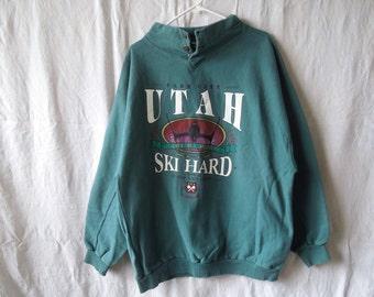 SALE 90s Utah Skiing Mountain Sweatshirt
