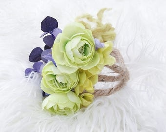 Newborn Photography Prop {Lime & Lavender Floral Halo}