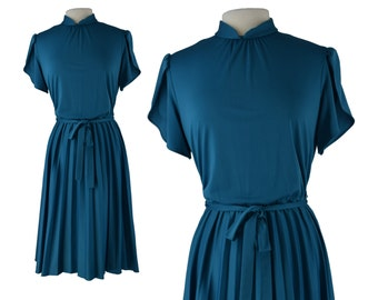Vintage Dress, 1950s Dress, 50s Dress, Blue Retro Dress, Retro Vintage Dress, Pleated Dress, Secretary Dress, Rockabilly Dress, Size Large