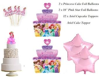 17 Piece Set Complete Princess Ariel Foil Balloon for Princess Cake Topper Cupcake Birthday Decoration