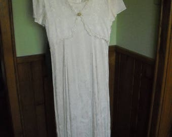 Vintage Jody of California Womens Dress Layered Look Tie Back Shiny IVORY (9) Dry Clean Only
