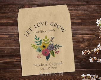 Let Love Grow, Wedding Seed Packet, Seed Packet Favor, Flower Seed Favor, Rustic Wedding, Custom Seed Packets, Garden Wedding x 25