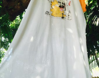 Vintage 70's raglan Garfield Paperthin tshirt dress
