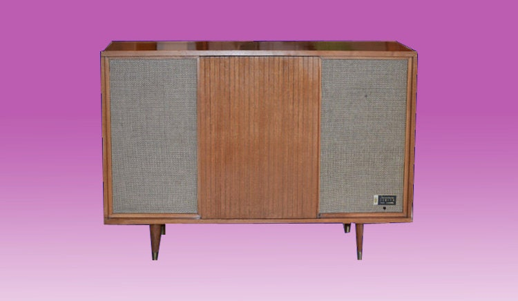 Zenith Mid Century Turntable Stereo Console With All New
