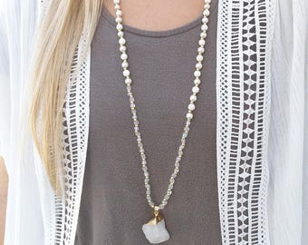 Long bead necklace - rosary style necklace - boho necklace -