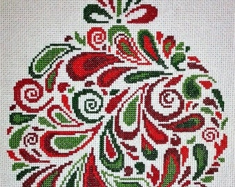 CHRISTMAS BAUBLE, Completed Cross Stitch, Wall Art, Gift