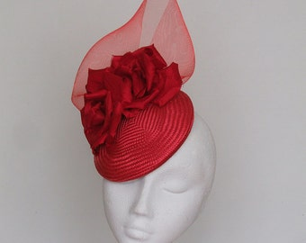 Red Fascinator Kentucky Derby Hat