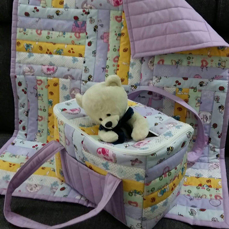Borsa porta pannolini patchwork trapuntata e coperta patchwork - Borsa porta bebe ...