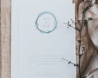 Printed, Simple Wedding Invitations with Watercolour Branch detail with Envelopes.