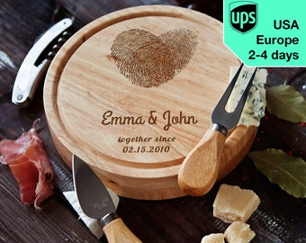 Fingerprints - personalised Cheese board, Laser Engraved custom serving board
