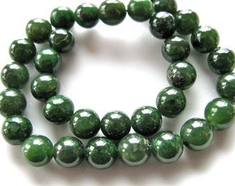 Jade beads, 33 beads 8mm, green Jade, vintage beads, 10 inch strand, Jewelry supply B-1226