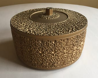 Vintage Gold Textured Round Container